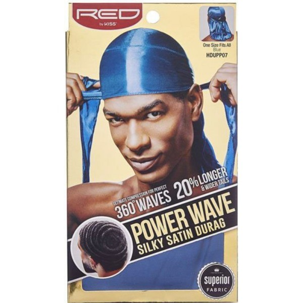 Red by Kiss Wave Cap Power Wave Silky Satin Durag Blue