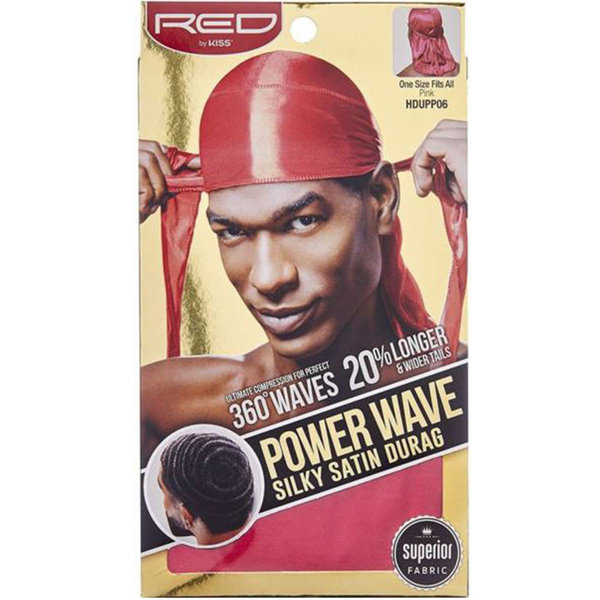 Red by Kiss Wave Cap Power Wave Silky Satin Durag Pink