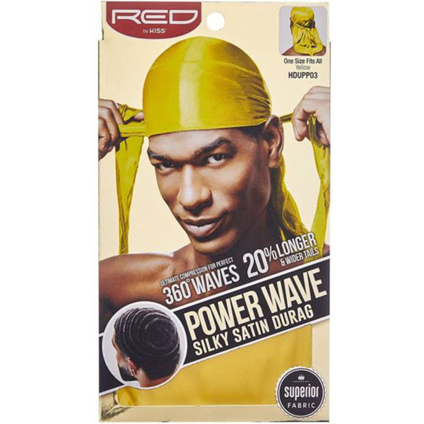 Red by Kiss Wave Cap Power Wave Silky Satin Durag Yellow