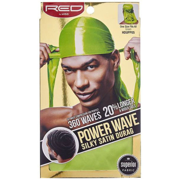 Red by Kiss Wave Cap Power Wave Silky Satin Durag Green