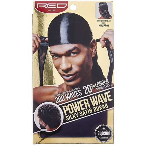 Red by Kiss Wave Cap Power Wave Silky Satin Durag Black